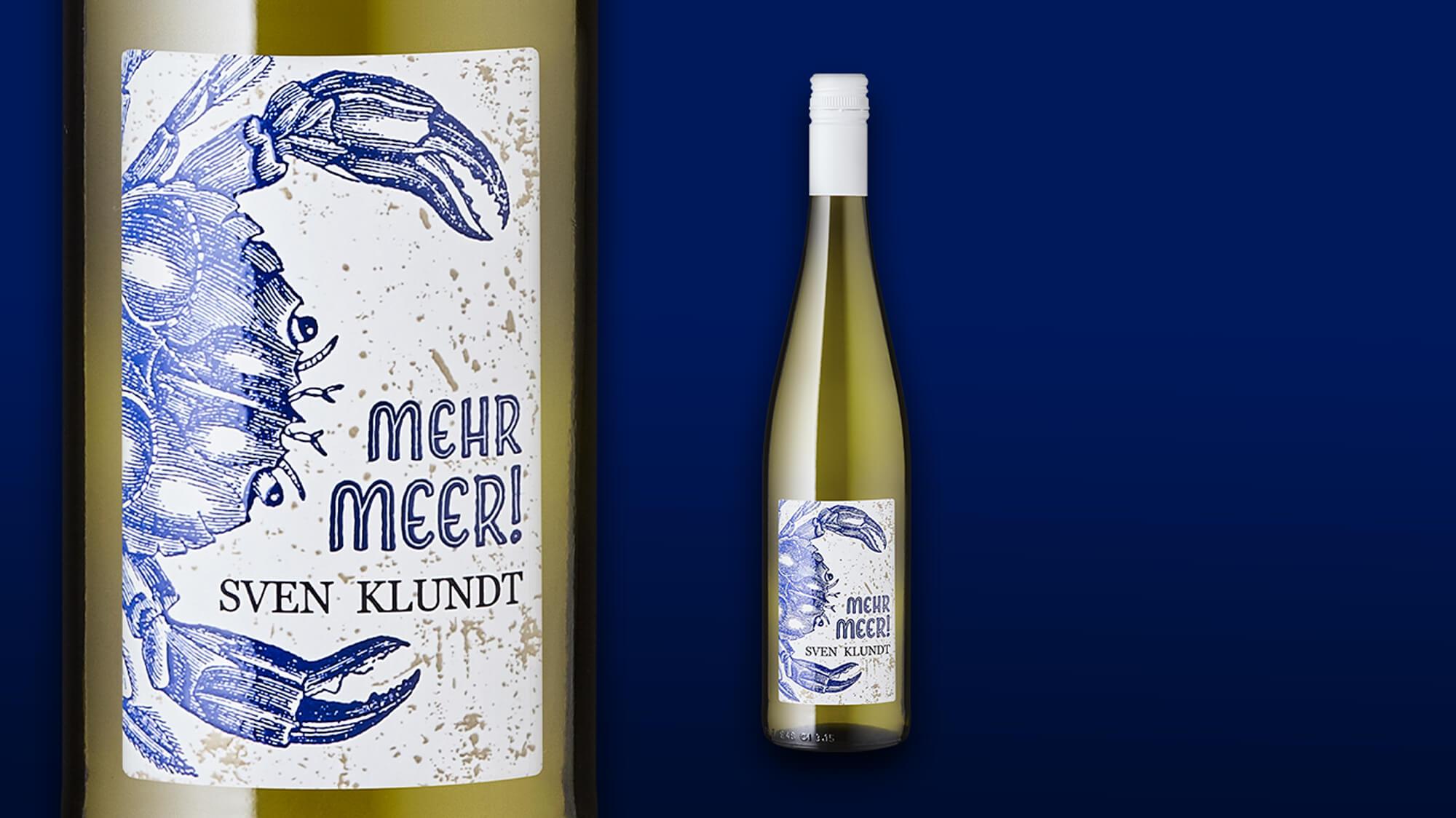 Etikett und Flasche des Weines »Mehr Meer« des Weingutes Klundt