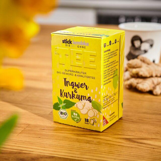 Verpackungsdesign der Teesorte Ingwer & Kurkuma