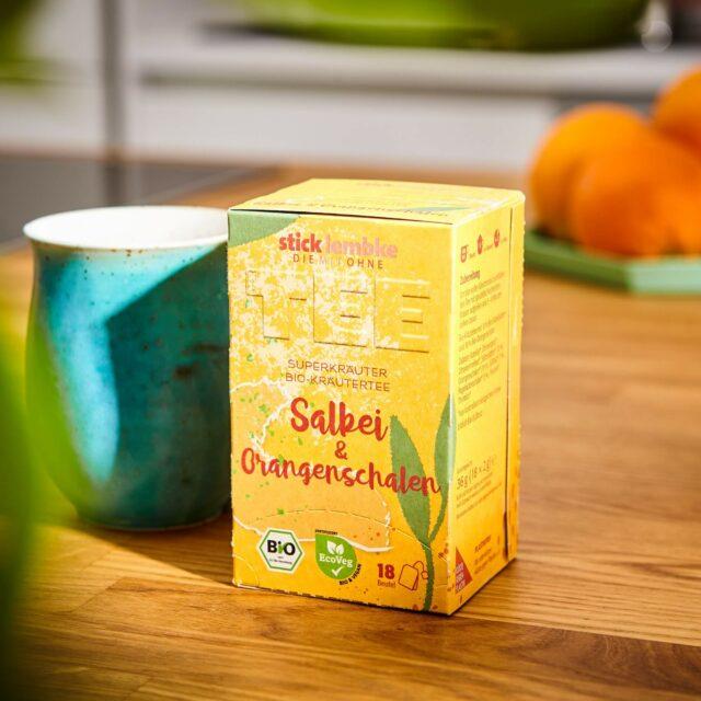 Verpackungsdesign der Teesorte Salbei und Orangenschalen